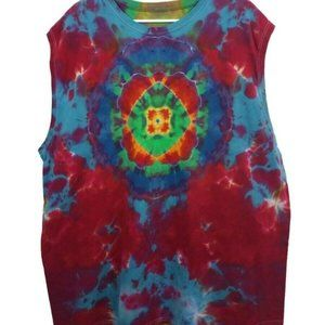 Hand Dyed Tie Dye Tee Cotton Jersey Tank Adult